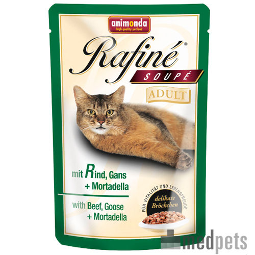 Animonda Rafiné Soupé Adult Katzenfutter - Frischebeutel - Rind, Gans & Mortadella