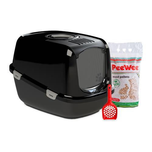 PeeWee EcoDome Katzentoilette Starter-Paket - Schwarz