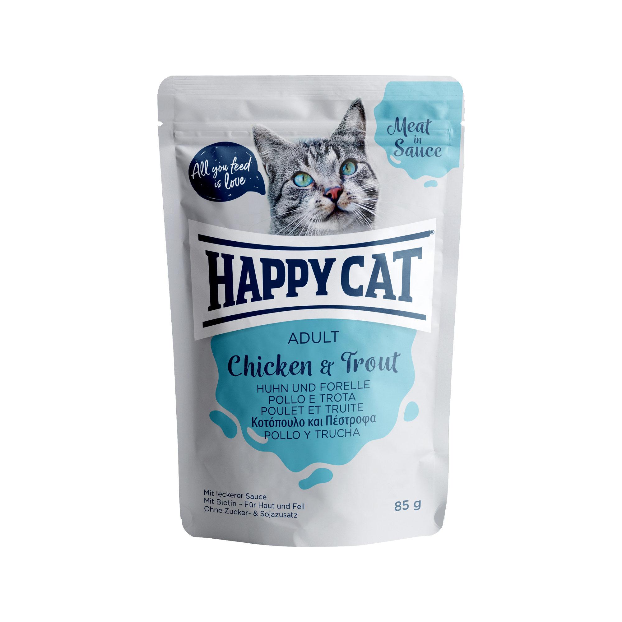 Happy Cat Meat in Sauce Adult Katzenfutter - Frischebeutel - Huhn & Forelle