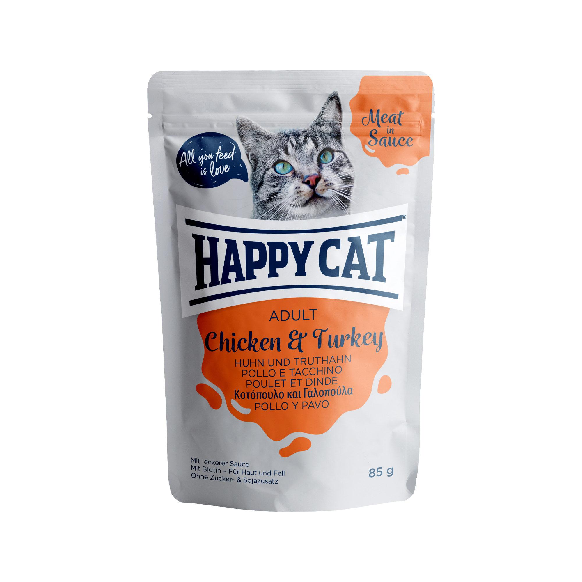 Happy Cat Meat in Sauce Adult Katzenfutter - Frischebeutel - Huhn & Pute