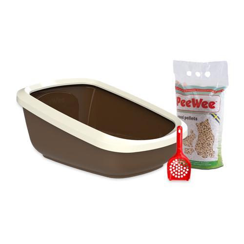 PeeWee EcoGranda Katzenklo Starter-Paket - Braun
