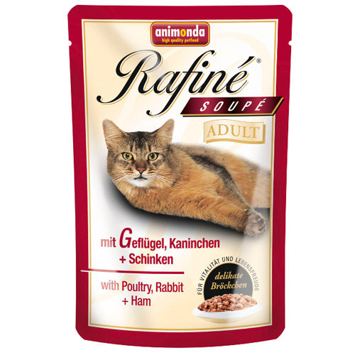 Animonda Rafiné Soupé Adult Katzenfutter - Frischebeutel - Geflügel, Kaninchen & Schinken