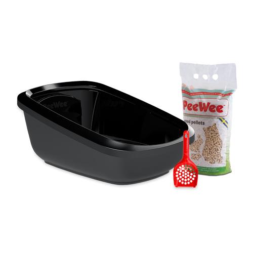 PeeWee EcoGranda Katzenklo Starter-Paket - Schwarz