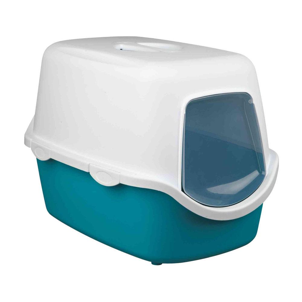 Katzentoilette Vico mit Haube - Aquamarin / Weiß