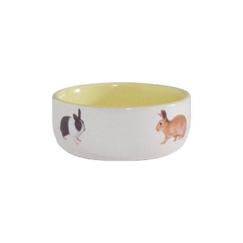 Beeztees Futternapf für Kaninchen aus Keramik - Gelb